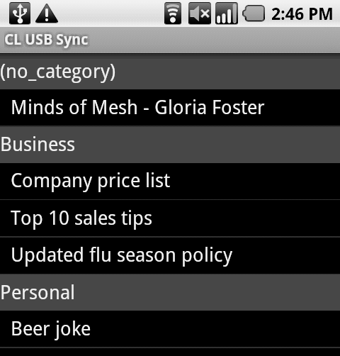 Memos app with categories for Android-based phones like Droid