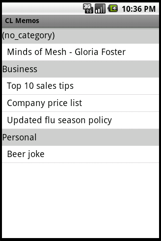 Sort your Notes and Memos by category.