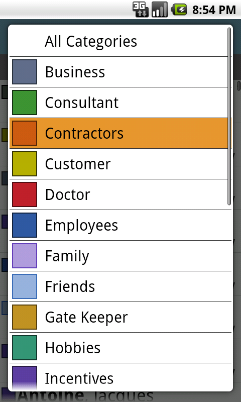 DejaOffice - Category Select