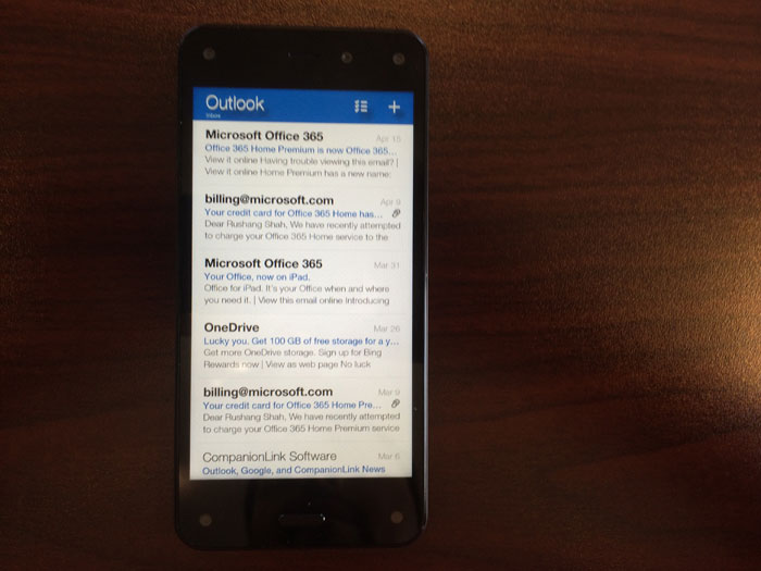 Fire Phone's email app uses text styling similar to iOS