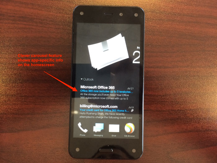 Fire Phone shows email snippets on home screen