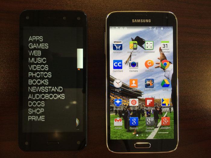 Fire Phone homescreen slider menu