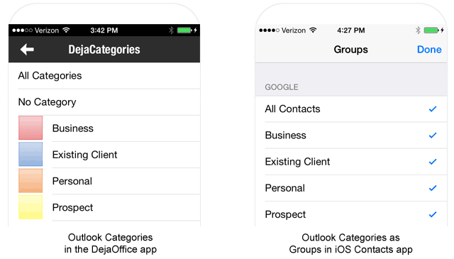 How Outlook categories on iPhone look