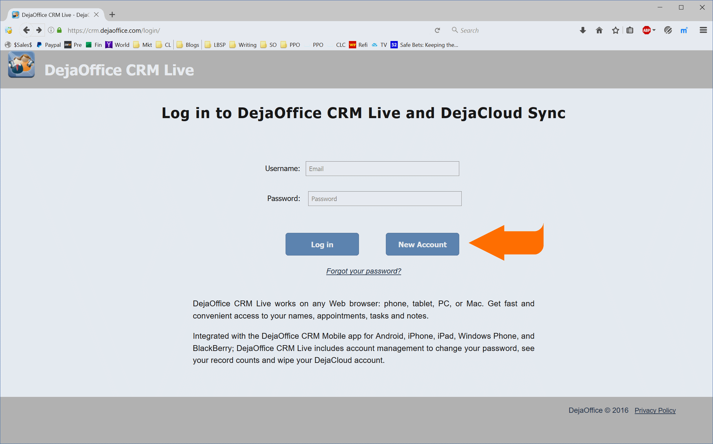 DejaOffice CRM Live Login