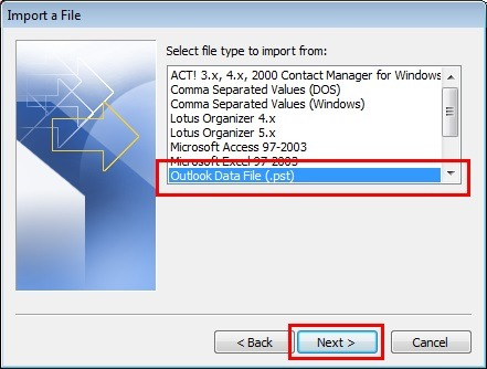 Import PST on Outlook for Windows