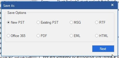 Choose Format as PST