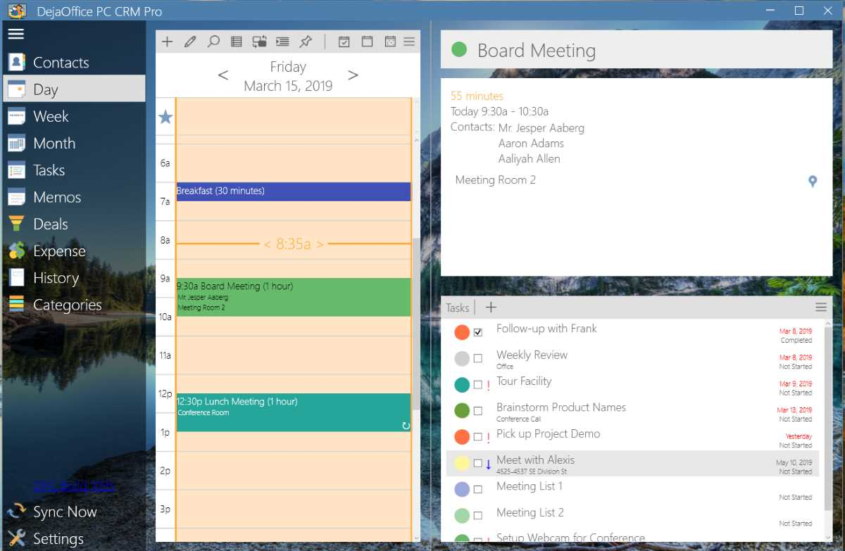 DejaOffice PC CRM for Outlook Agenda View