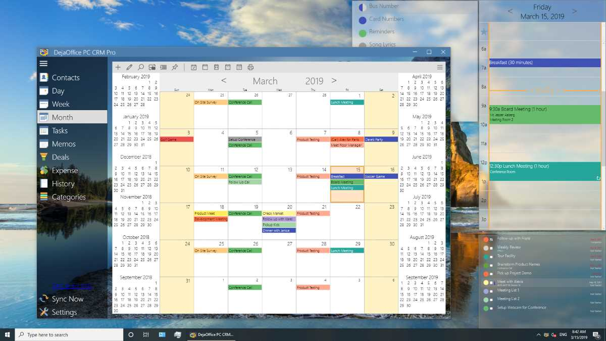 DejaOffice PC CRM for Outlook Monthly View with Pinned Windows
