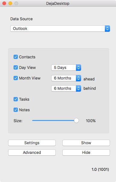 DejaDesktop for Mac Main Window