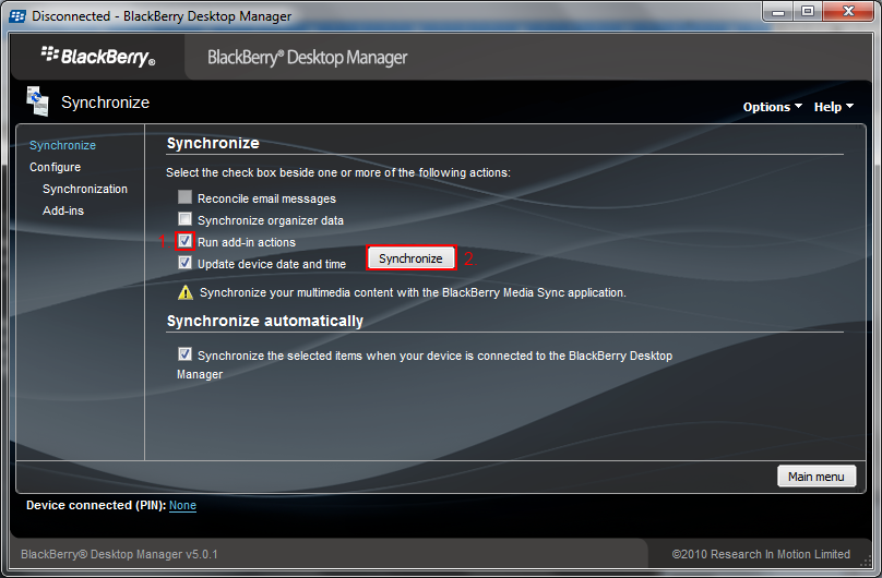 In your BlackBerry Desktop Manager select Synchronize.