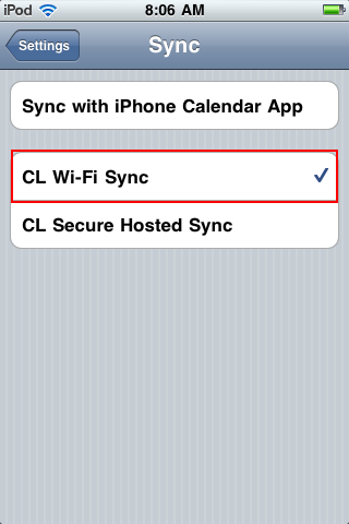 Ensure the CL Wi-Fi Sync is selected